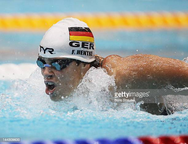 Franziska Hentke of SC Magdeburg competes in the women's 200m butterfly A final during day four of the German Swimming Championship 2012 at...
