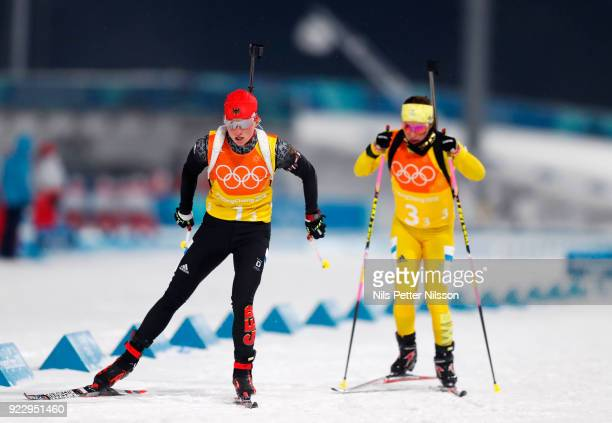 Franziska Hildebrand of Germany and Anna Magnusson of Sweden during the Biathlon Womens 4x6km Relay at Alpensia Biathlon Centre on February 22 2018...