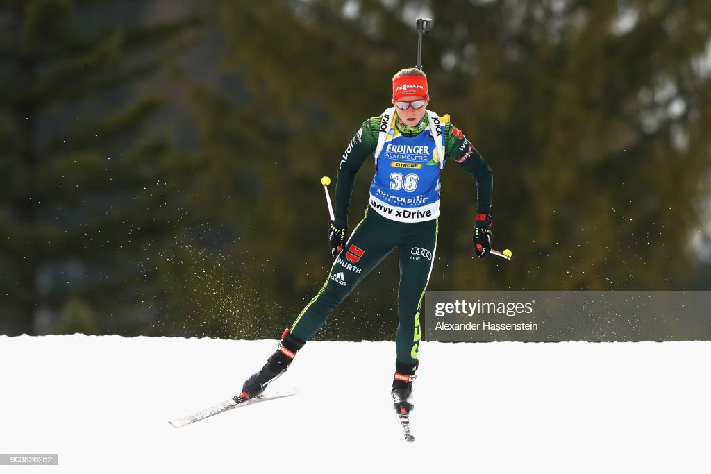 Franziska Hildebrand of Germany competes at the women's 15km individual competition during the IBU Biathlon World Cup at Chiemgau Arena on January 11, 2018 in Ruhpolding, Germany.