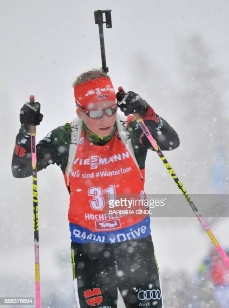 Franziska Hildebrand of Germany competes at the women's 75 km sprint event during the IBU World Cup Biathlon in Hochfilzen Austria December 8 2017 /...