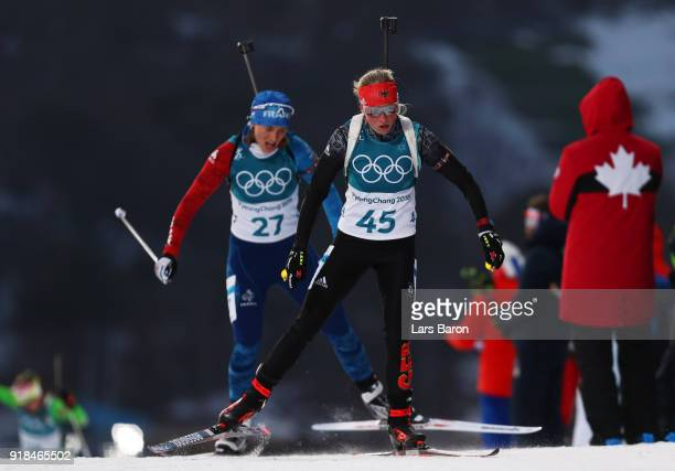 Franziska Hildebrand of Germany competes during the Women's 15km Individual Biathlon at Alpensia Biathlon Centre on February 15 2018 in...