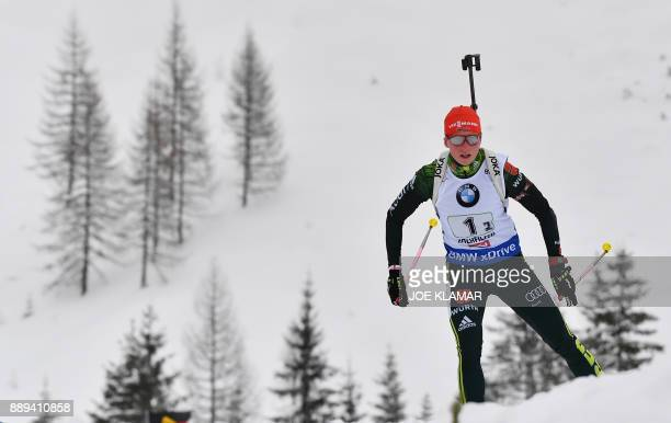 Franziska Hildebrand of Germany competes during the women's 4x6 km relay event at the IBU World Cup Biathlon in Hochfilzen Austria on December 10...