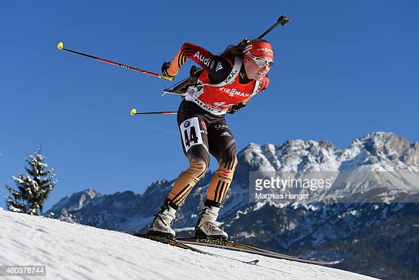 Franziska Hildebrand of Germany competes during the women's 75 km sprint event during the IBU Biathlon World Cup on December 12 2014 in Hochfilzen...