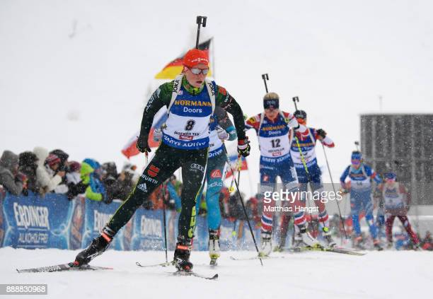 Franziska Hildebrand of Germany competes in the 10 km Women's Pursuit during the BMW IBU World Cup Biathlon on December 0 2017 in Hochfilzen Austria