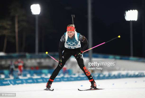 Franziska Hildebrand of Germany finishes during the Women's 15km Individual Biathlon at Alpensia Biathlon Centre on February 15 2018 in...