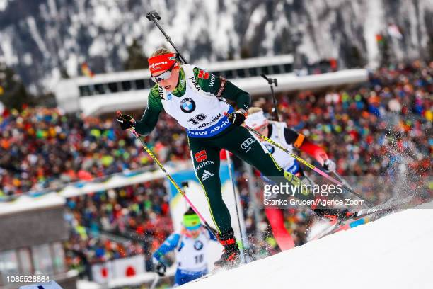 Franziska Hildebrand of Germany in action during the IBU Biathlon World Cup Men's and Women's Mass Start on January 20, 2019 in Ruhpolding, Germany.