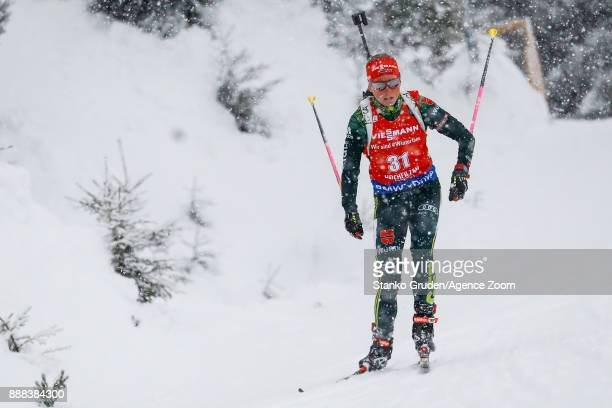 Franziska Hildebrand of Germany in action during the IBU Biathlon World Cup Men's and Women's Sprint on December 8 2017 in Hochfilzen Austria