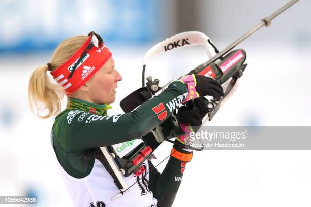 Franziska Hildebrand of Germany looks on at the zeoring for the Women 12.5 km Mass Start during the IBU Biathlon World Cup at Chiemgau Arena on...