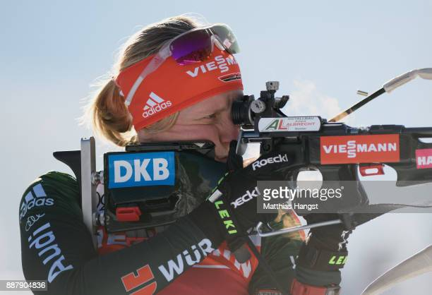 Franziska Hildebrand of Germany practices at the shooting range during the Official Training prior to the BMW IBU World Cup Biathlon on December 7...