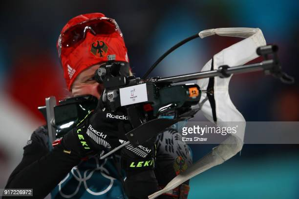 Franziska Hildebrand of Germany practices prior to the Women's Biathlon 10km Pursuit on day three of the PyeongChang 2018 Winter Olympic Games at...