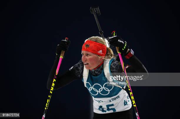 Franziska Hildebrand of Germany reacts at the finish during the Women's 15km Individual Biathlon at Alpensia Biathlon Centre on February 15 2018 in...