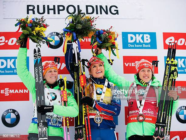 Franziska Hildebrand of Germany second place Gabriela Soukalova of the Czech Republic first place and Laura Dahlmeier of Germany third place...