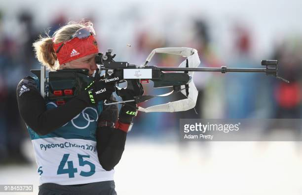 Franziska Hildebrand of Germany shoots during the Women's 15km Individual Biathlon at Alpensia Biathlon Centre on February 15 2018 in Pyeongchanggun...