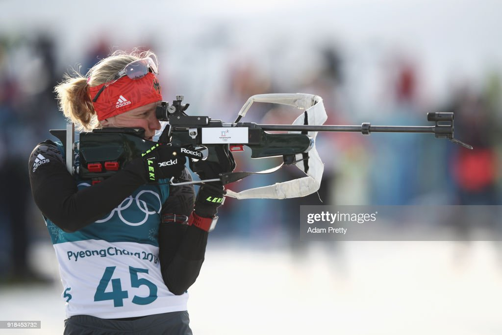 Franziska Hildebrand of Germany shoots during the Women's 15km Individual Biathlon at Alpensia Biathlon Centre on February 15, 2018 in Pyeongchang-gun, South Korea.