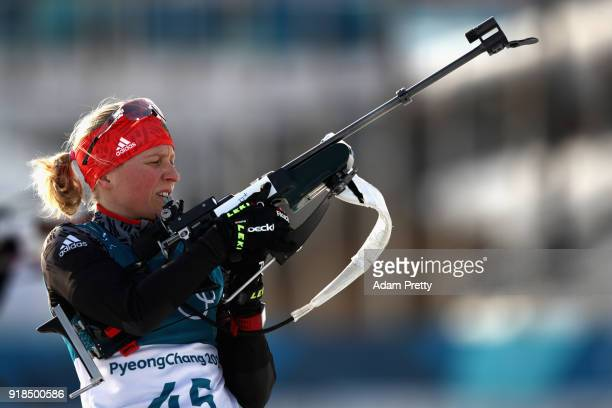 Franziska Hildebrand of Germany shoots prior to the Women's 15km Individual Biathlon at Alpensia Biathlon Centre on February 15 2018 in...