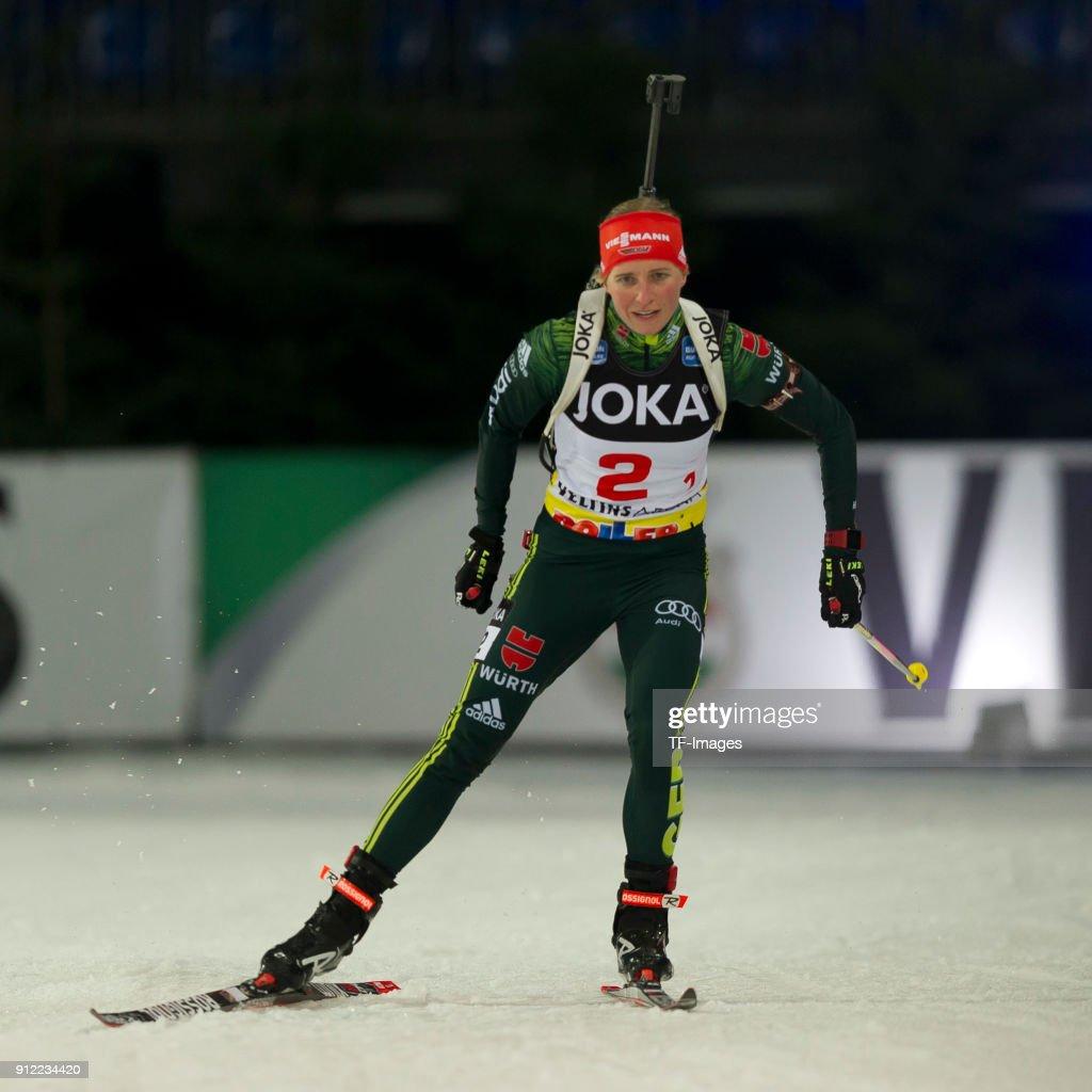 Franziska Hildebrand of Germany skates during the JOKA Biathlon World Team Challenge at Veltins-Arena on December 28, 2017 in Gelsenkirchen, Germany.