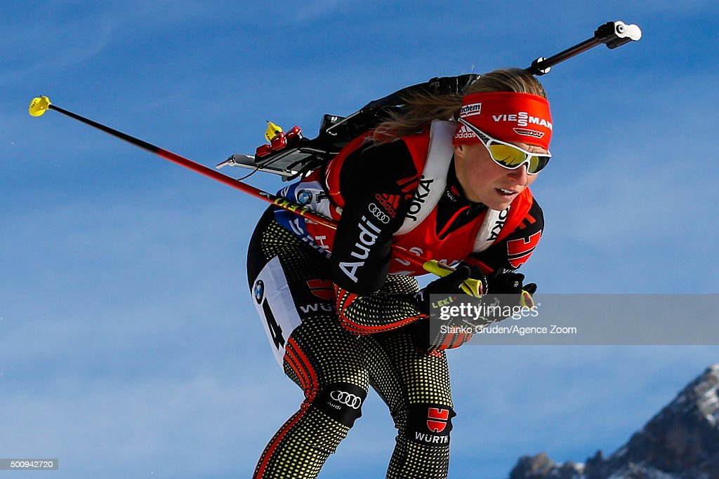 Franziska Hildebrand of Germany takes 1st place during the IBU Biathlon World Cup Men's and Women's Sprint on December 11, 2015 in Hochfilzen, Austria.