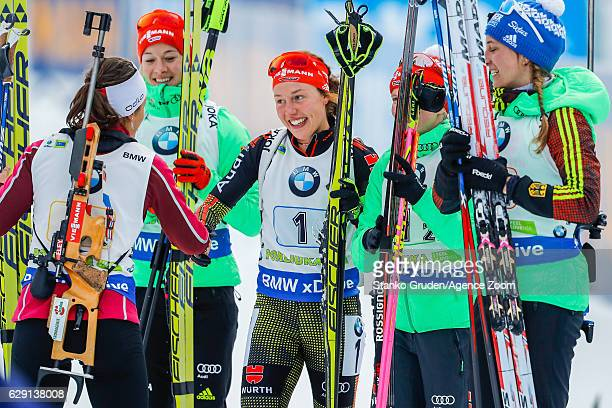 Franziska Hildebrand of Germany takes 1st place during the IBU Biathlon World Cup Men's and Women's Relay on December 11 2016 in Pokljuka Slovenia