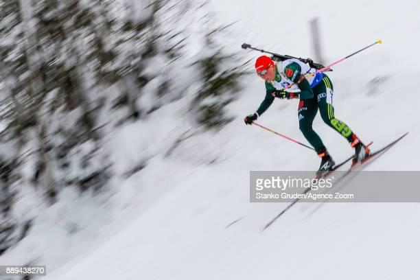 Franziska Hildebrand of Germany takes 1st place during the IBU Biathlon World Cup Men's and Women's Relay on December 10 2017 in Hochfilzen Austria