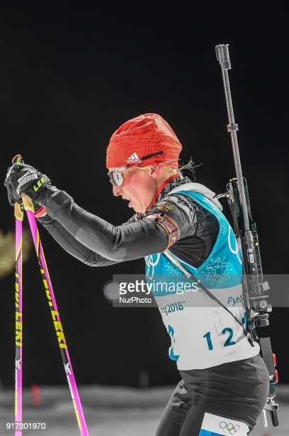 Franziska Hildebrand of Germany competing at Women's 10km Pursuit Biathlon at olympics at Alpensia biathlon stadium Pyeongchang South Korea on...