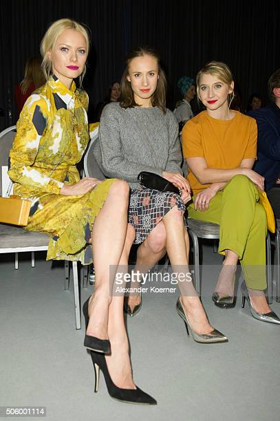 Franziska Knuppe Alina Levshin and Anna Maria Mühe attend the Kilian Kerner show during the MercedesBenz Fashion Week Berlin Autumn/Winter 2016 at...