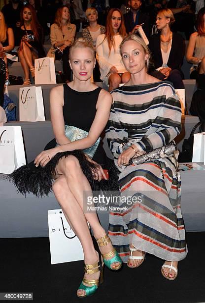 Franziska Knuppe and Anne MeyerMinnemann attend the Dimitri show during the MercedesBenz Fashion Week Berlin Spring/Summer 2016 at Brandenburg Gate...