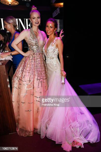 Franziska Knuppe and Annemarie Carpendale pose at the 70th Bambi Awards party at Atrium Tower on November 16, 2018 in Berlin, Germany.
