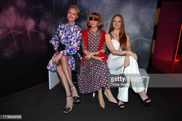 """Franziska Knuppe and Barbara Meier attend the opening of the new """"It's all about fashion"""" area at Madame Tussauds on October 17, 2019 in Berlin,..."""