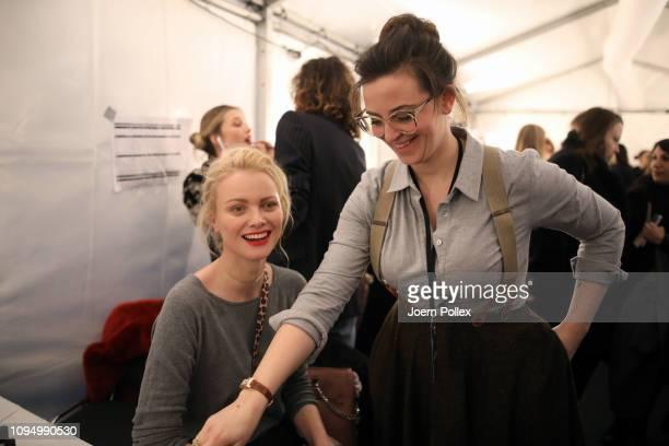 Franziska Knuppe and designer Lena Hoschek backstage ahead of the Lena Hoschek show during the Berlin Fashion Week Autumn/Winter 2019 at ewerk on...
