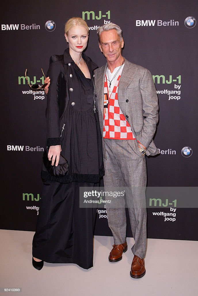 Franziska Knuppe and designer Wolfgang Joop attend the launch to the MJ-1 by Wolfgang Joop at Berliner Freiheit on October 27, 2009 in Berlin, Germany.