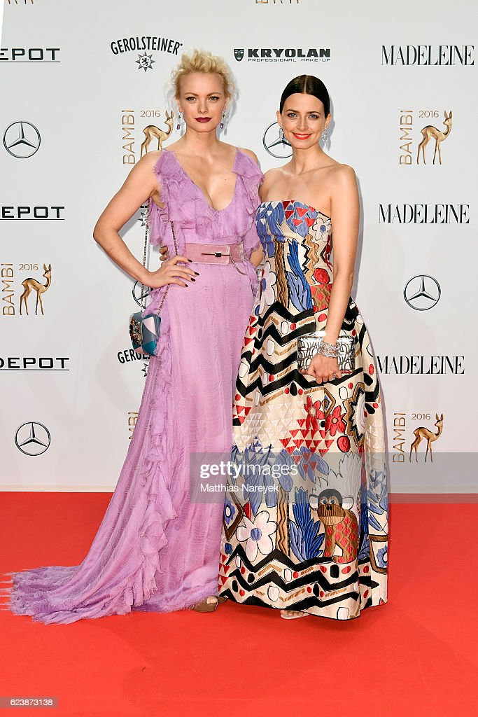 Franziska Knuppe and Eva Padberg arrive at the Bambi Awards 2016 at Stage Theater on November 17, 2016 in Berlin, Germany.