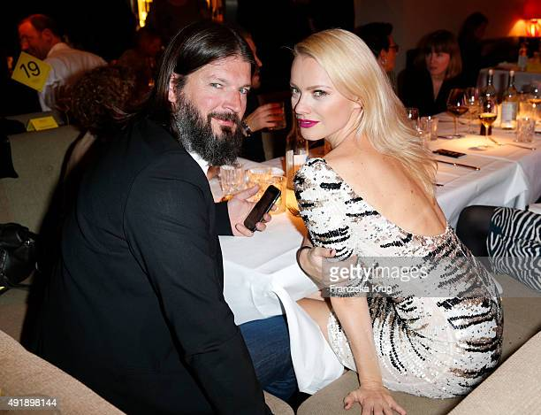 Franziska Knuppe and her husband Christian Moestl attend the 5th anniversary celebrations of the GRAZIA magazine at Grill Royal on October 08, 2015...