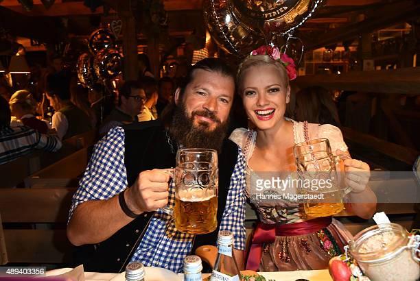 Franziska Knuppe and her husband Christian Moestl attend the Almauftrieb during the Oktoberfest 2015 at Kaefer Tent on September 20 2015 in Munich...