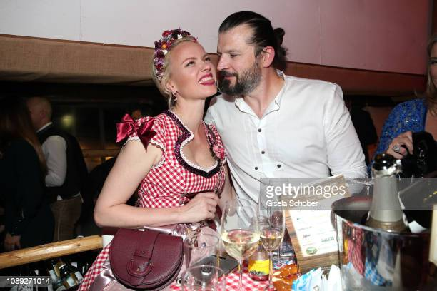 Franziska Knuppe and her husband Christian Moestl during the 28th Weisswurstparty at Hotel Stanglwirt on January 25 2019 in Going near Kitzbuehel...