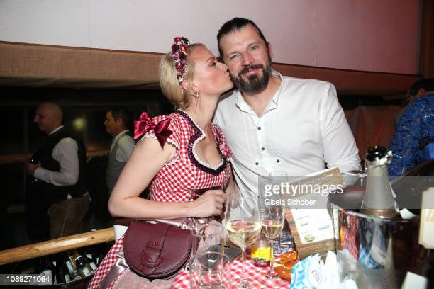 Franziska Knuppe and her husband Christian Moestl during the 28th Weisswurstparty at Hotel Stanglwirt on January 25, 2019 in Going near Kitzbuehel,...