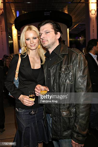 """Franziska Knuppe And Husband Christian Moestl at The Montblanc exhibition """"Soul Makers For 100 Years"""" In KaDeWe in Berlin 120406."""
