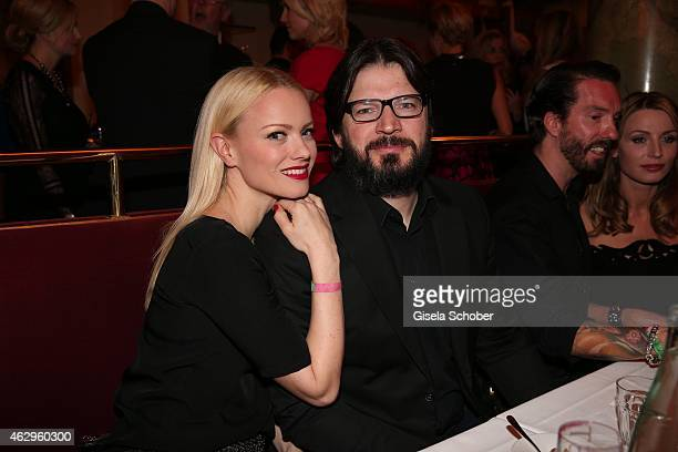 Franziska Knuppe and husband Christian Moestl attend the Bild 'Place to B' Party at Borchardt Restaurant on February 7 2015 in Berlin Germany