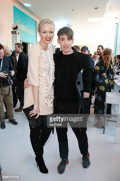 Franziska Knuppe and Kilian Kerner attend the 'Gala' fashion brunch during the MercedesBenz Fashion Week Berlin Autumn/Winter 2016 at Ellington Hotel...