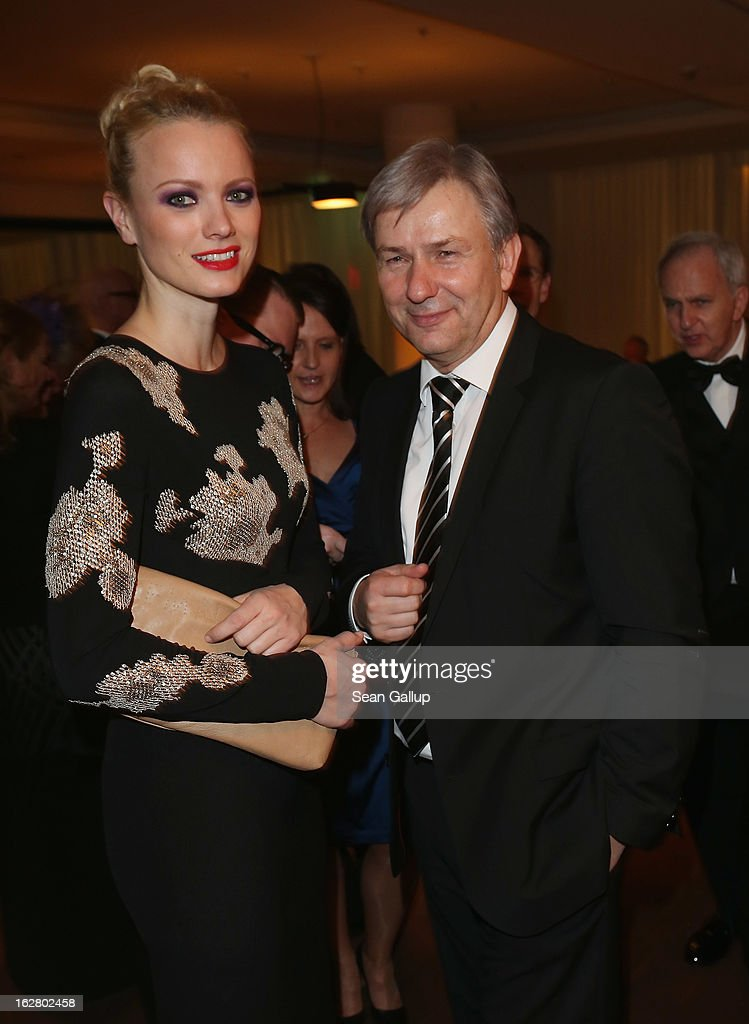 Franziska Knuppe and Klaus Wowereit attend the grand opening of the Waldorf Astoria Berlin hotel on February 27, 2013 in Berlin, Germany.