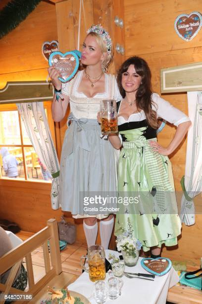 Franziska Knuppe and Natalia Avelon during the 'Fruehstueck bei Tiffany' at Schuetzenfesthalle at the Oktoberfest on September 16 2017 in Munich...