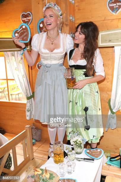 Franziska Knuppe and Natalia Avelon during the 'Fruehstueck bei Tiffany' at Schuetzenfesthalle at the Oktoberfest on September 16, 2017 in Munich,...
