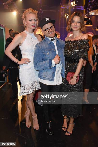 Franziska Knuppe Armin Morbach and Eva Padberg during the ABOUT YOU Awards at Bavaria Studios on May 3 2018 in Munich Germany