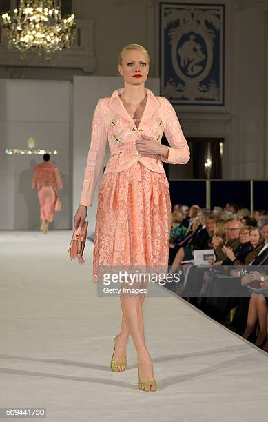 Franziska Knuppe attend Liz Malraux Fashion Show at Hotel Atlantic on February 10 2016 in Hamburg Germany