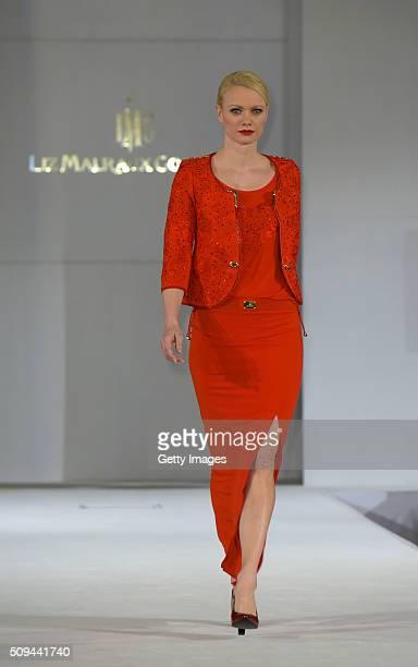 Franziska Knuppe attends Liz Malraux Fashion Show at Hotel Atlantic on February 10 2016 in Hamburg Germany