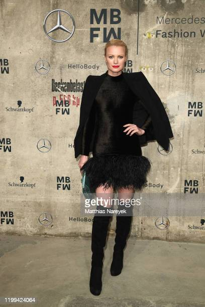 Franziska Knuppe attends the Danny Reinke show during Berlin Fashion Week Autumn/Winter 2020 at Kraftwerk Mitte on January 14, 2020 in Berlin,...