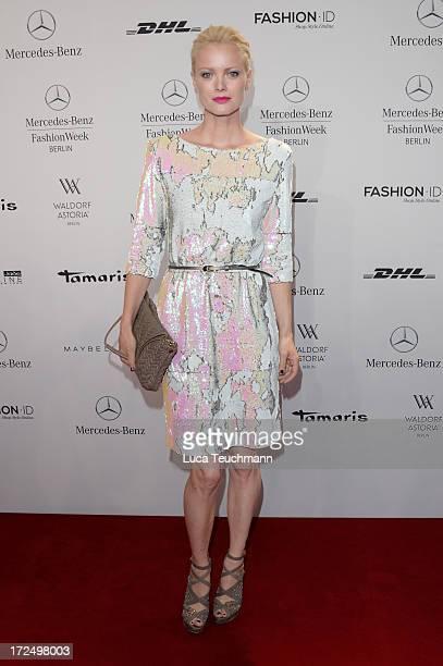 Franziska Knuppe attends the Kilian Kerner show during Mercedes-Benz Fashion Week Spring/Summer 2014 at Brandenburg Gate on July 2, 2013 in Berlin,...