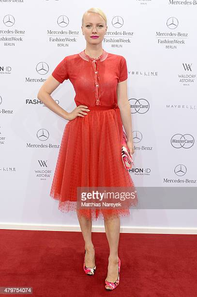 Franziska Knuppe attends the Lena Hoschek show during the MercedesBenz Fashion Week Berlin Spring/Summer 2016 at Brandenburg Gate on July 7 2015 in...