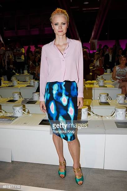 Franziska Knuppe attends the Marc Cain show during the MercedesBenz Fashion Week Spring/Summer 2015 at Erika Hess Eisstadion on July 10 2014 in...