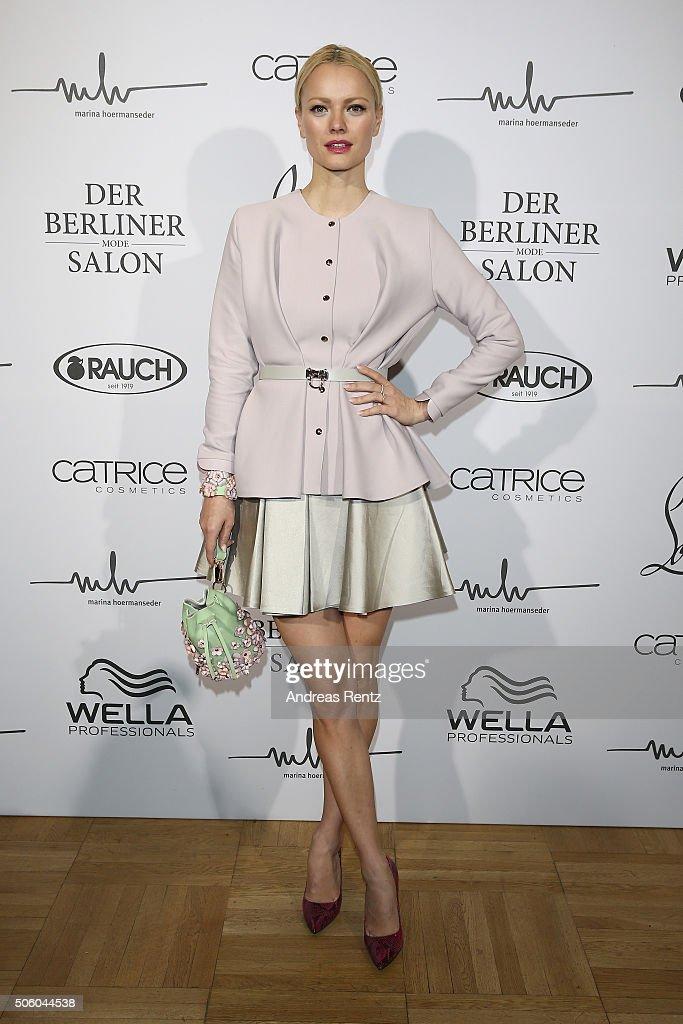 Franziska Knuppe attends the Marina Hoermanseder show as part of Der Berliner Mode Salon during the Mercedes-Benz Fashion Week Berlin Autumn/Winter 2016 at Kronprinzenpalais on January 21, 2016 in Berlin, Germany.