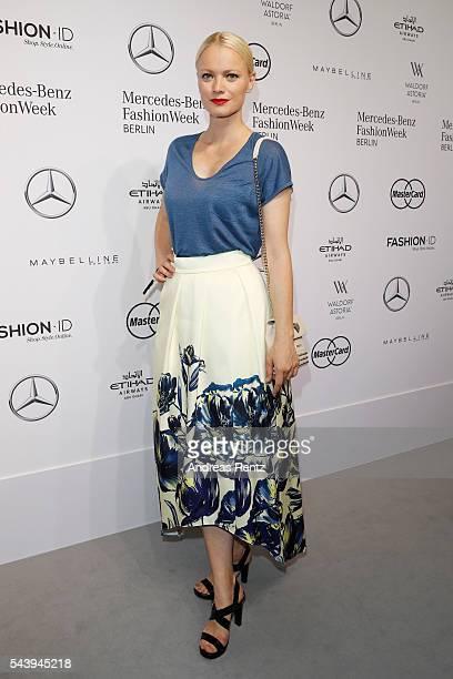 Franziska Knuppe dressed by Peek Cloppenburg attends the 'Designer for Tomorrow' show during the MercedesBenz Fashion Week Berlin Spring/Summer 2017...